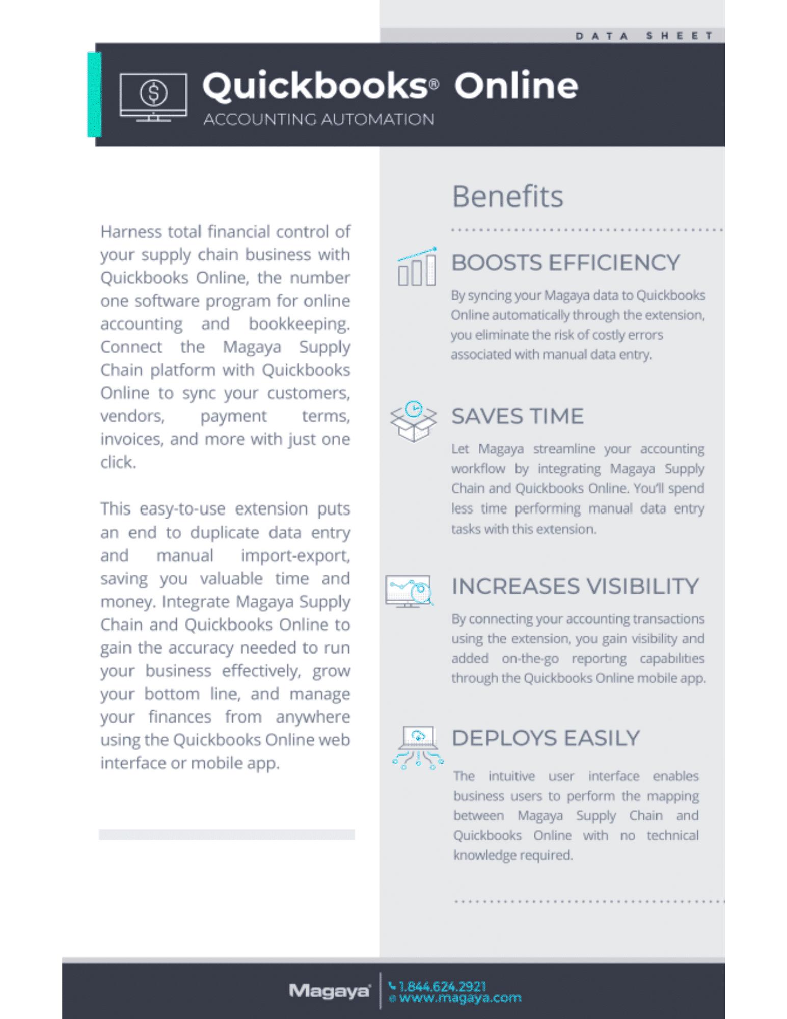 QuickBooks and Magaya Data Sheet