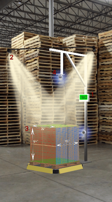 Dimensioner AR app screenshot a pallet dimensioner taking measurements in a warehouse