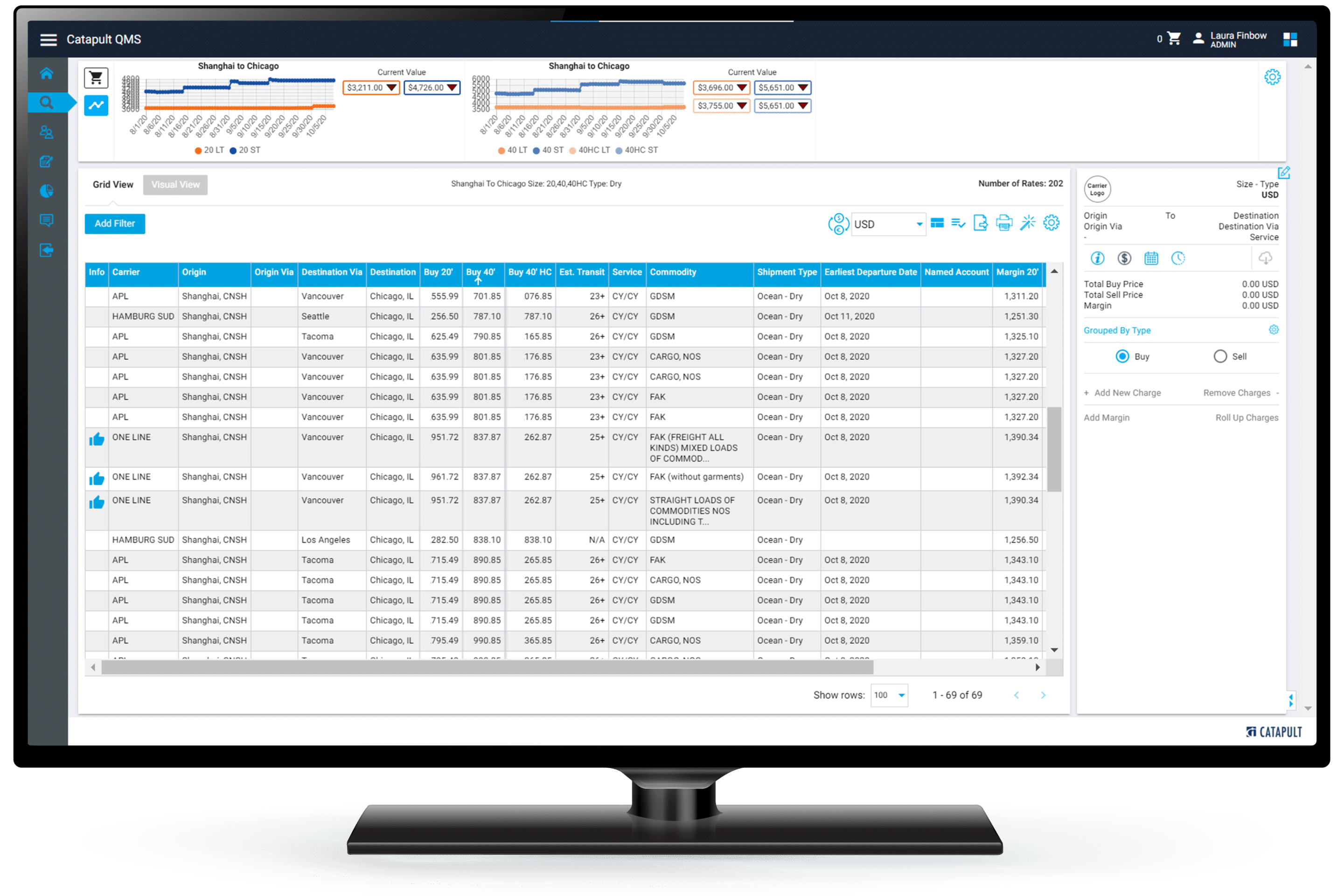 Catapult Freight Rates Software on a Computer Screen