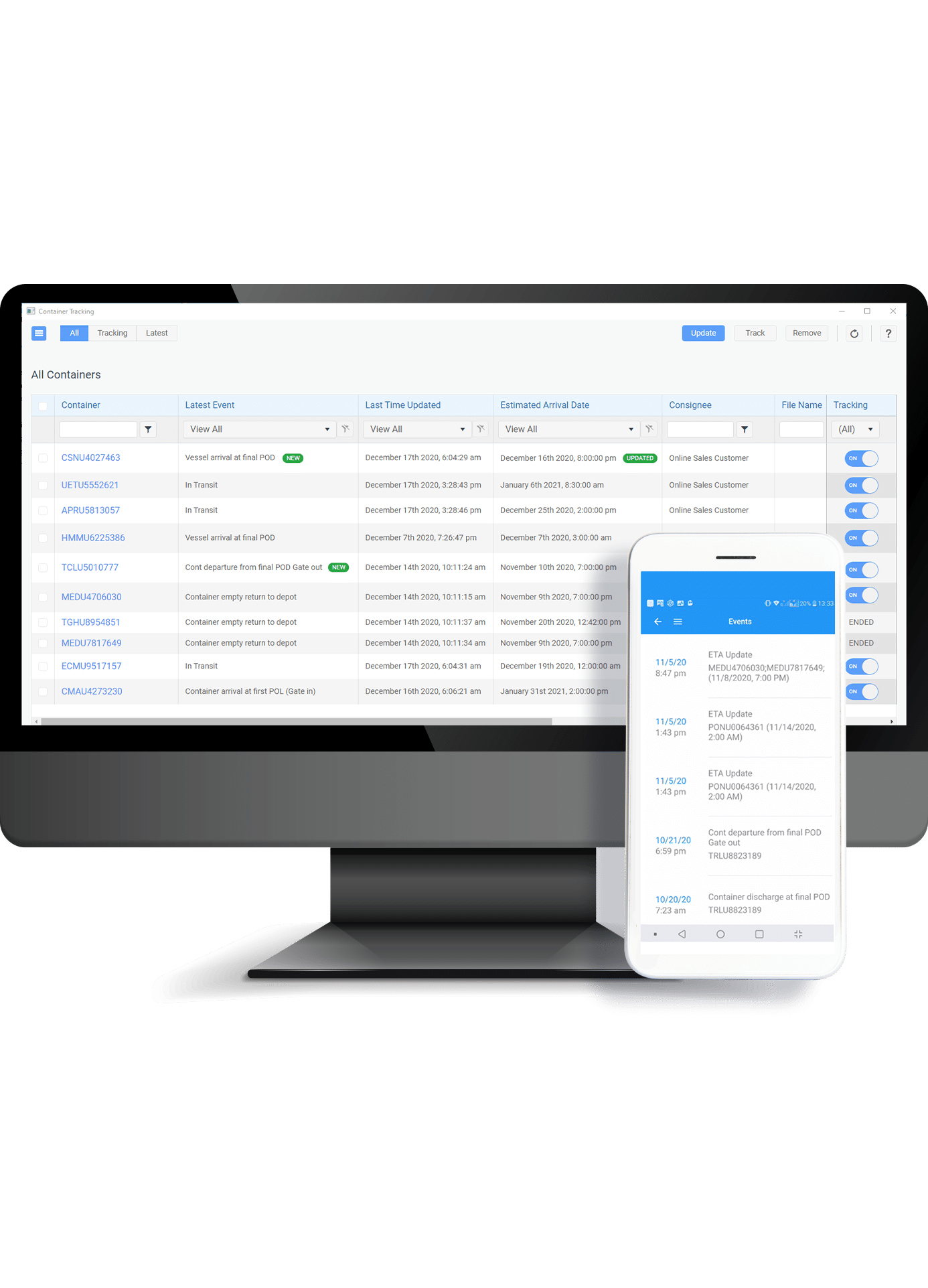 Container Tracking on Mobile or Desktop with Magaya LiveTrack