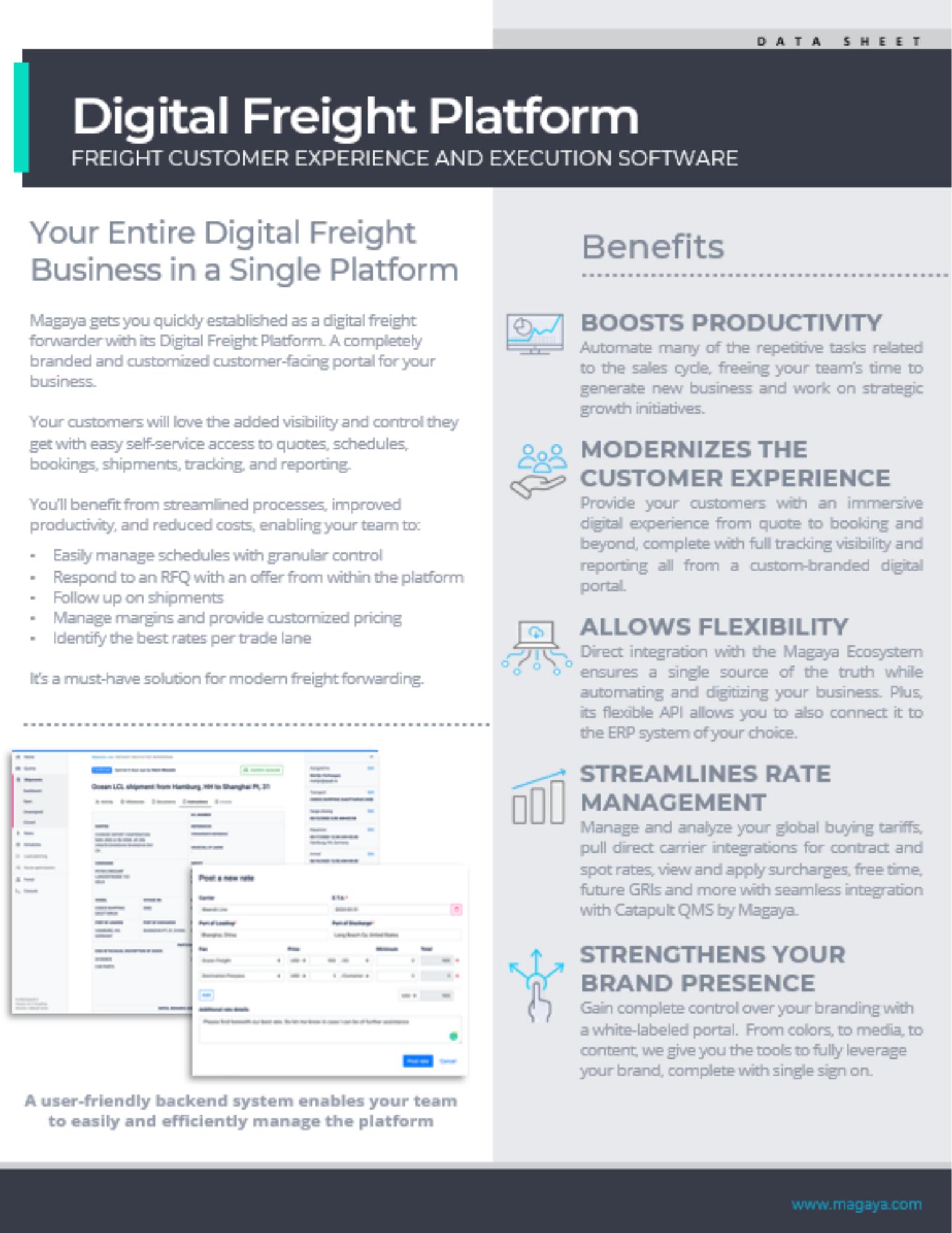 Digital Freight Platform Data Sheet